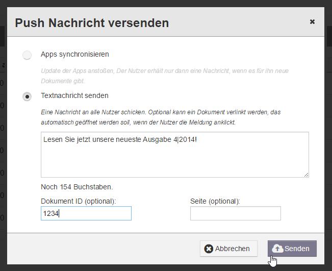 Push-Nachricht in App